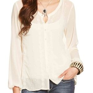 NWT Ariat Sheer Button Down Blouse w Embroidery